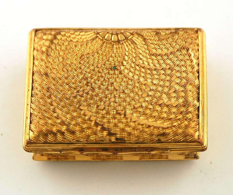 Copper gilt snuff box and spoon