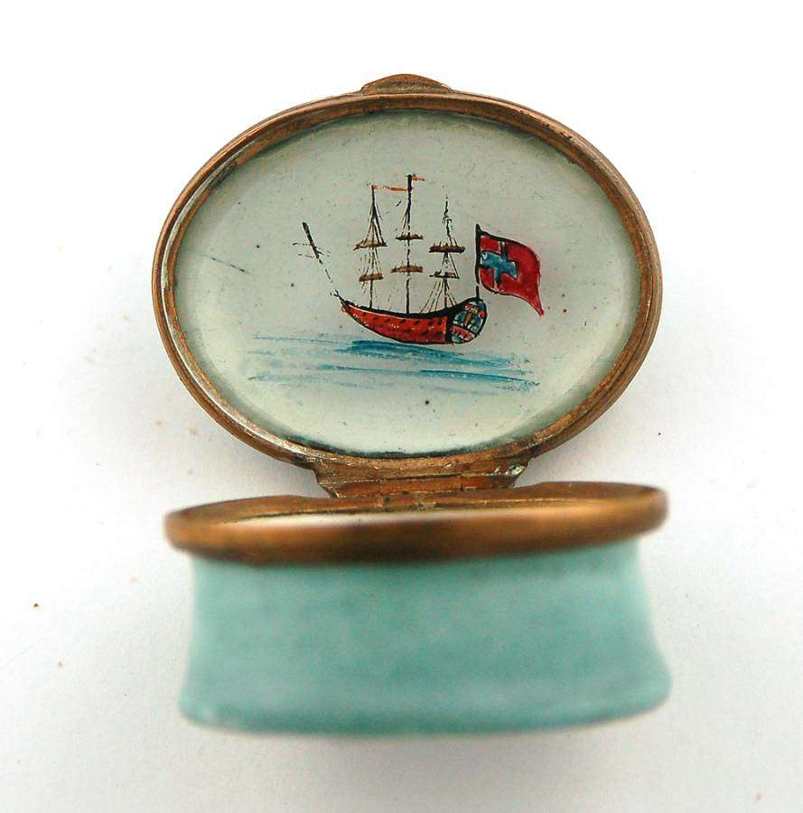 Enamel patch with ship interior