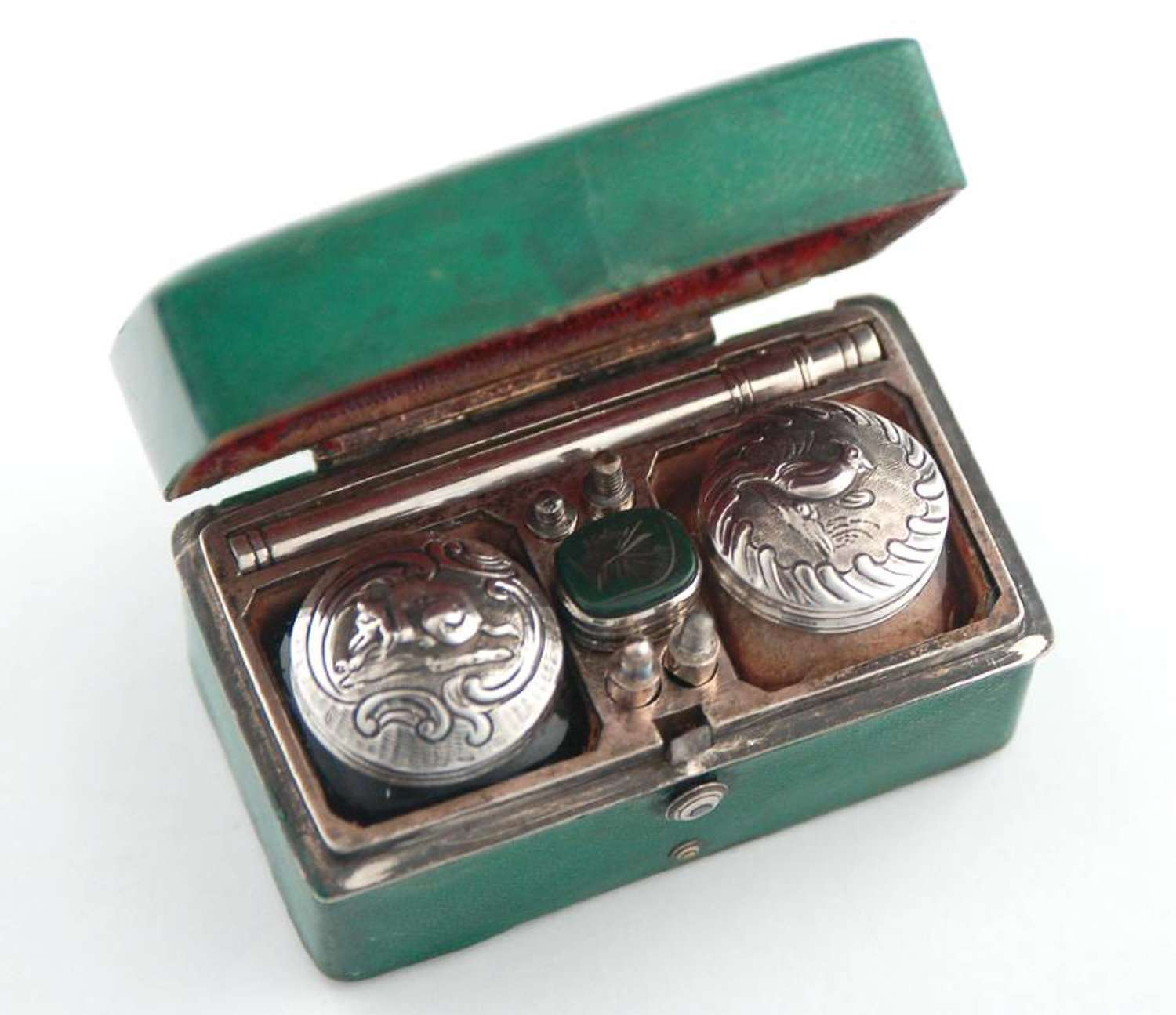 Shagreen and silver travelling inkwell