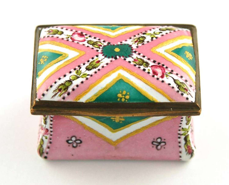 Pink and green rectangular box