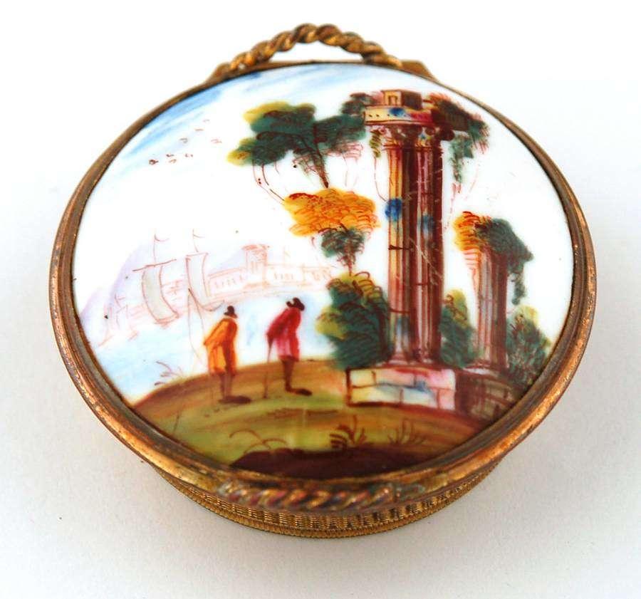 Enamel and copper gilt basket box