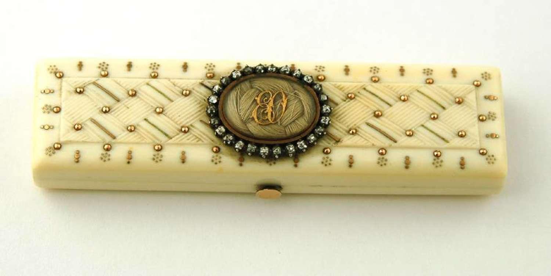 Ivory and Diamond Toothpick Box