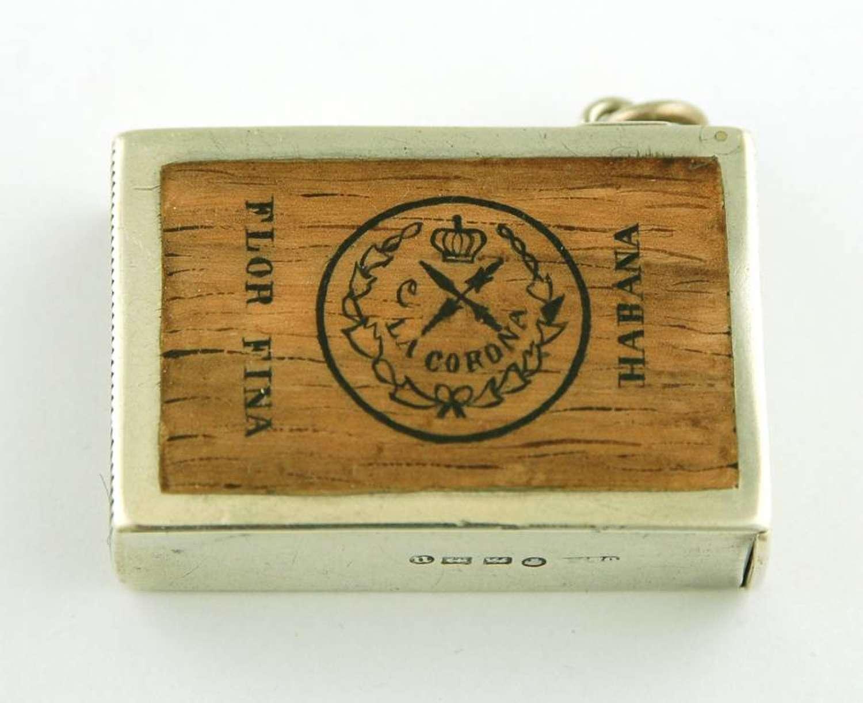 Cuban Corona Cigar Enamel Vesta Case