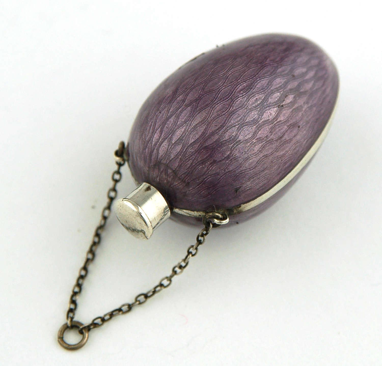 Mauve Enamel & Silver Egg