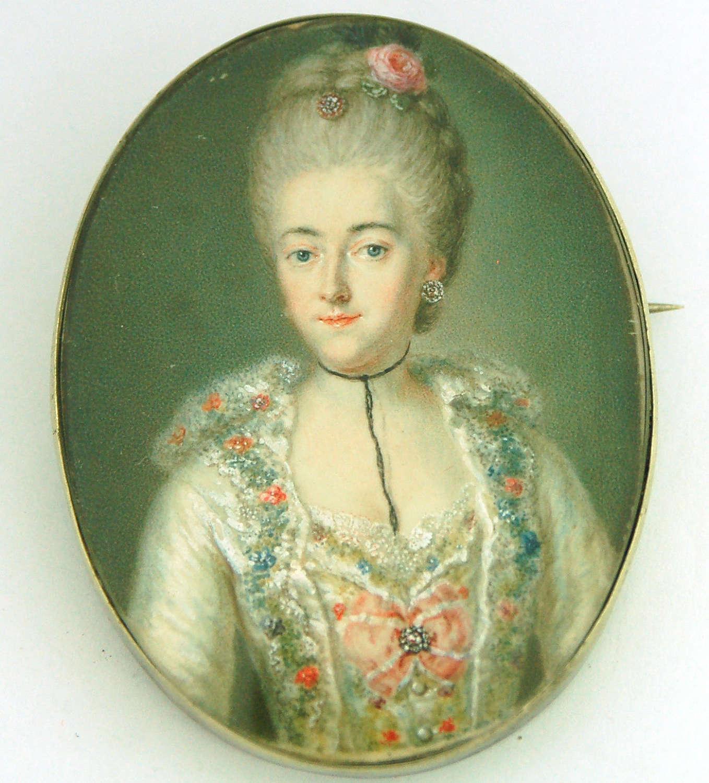 Lady on vellum possibly Maria Carolina of Austria