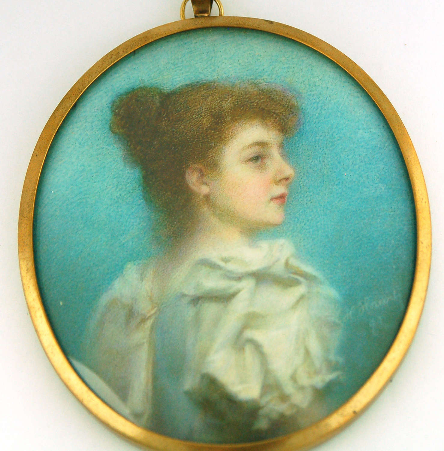 Miniature of lady signed and dated 1894